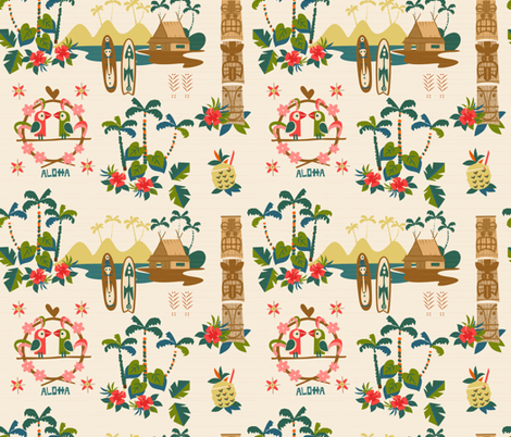 Mid Century Tiki Resort fabric by morecandyshop on Spoonflower - custom fabric