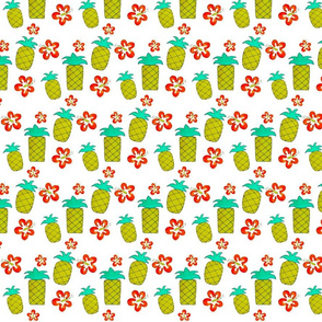 Pineapple & Hibiscus Print // cartoon pineapples and bright hibiscus channell hawaiian vibes