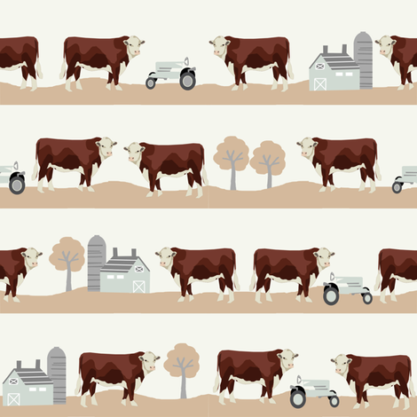 Hereford farm cow pattern cute beige fabric by petfriendly on Spoonflower - custom fabric