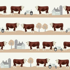 Hereford farm cow pattern cute farm animals beige