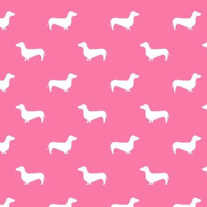 Dachshund doxie silhouette med pink