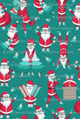 Busy Santas 2 // green background