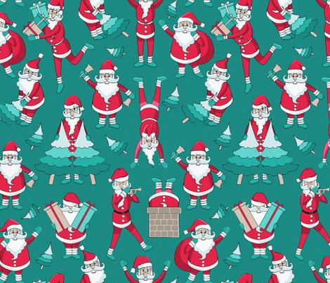 Busy Santas 2 // green background fabric by selmacardoso on Spoonflower - custom fabric