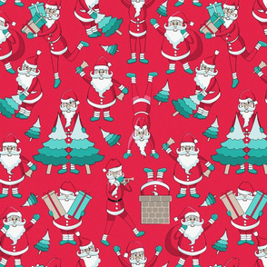 Busy Santas 3 // red background