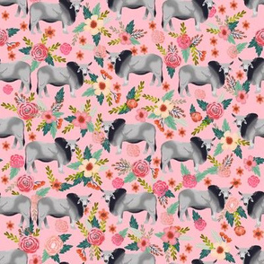Brahman cow floral fabric pattern pink