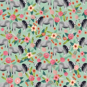 Brahman cow floral fabric pattern mint