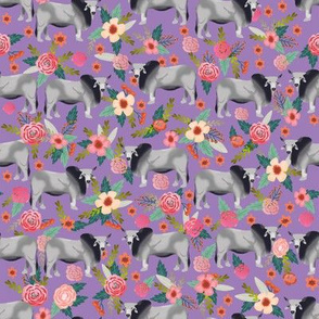 Brahman cow floral fabric pattern purple