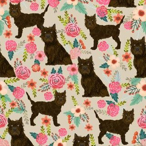 Cairn terrier floral brown coat