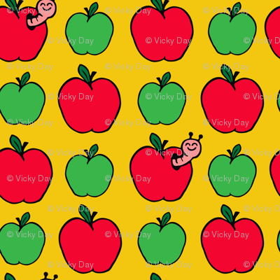 Apple and Cute Worm on Yellow