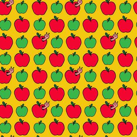 Apple and Cute Worm on Yellow fabric by woah_there_pickle on Spoonflower - custom fabric