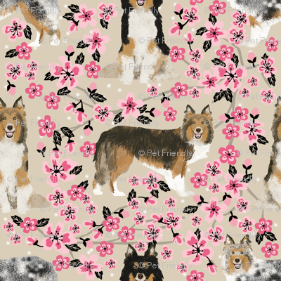sheltie fabric dogs and cherry blossoms print - sand