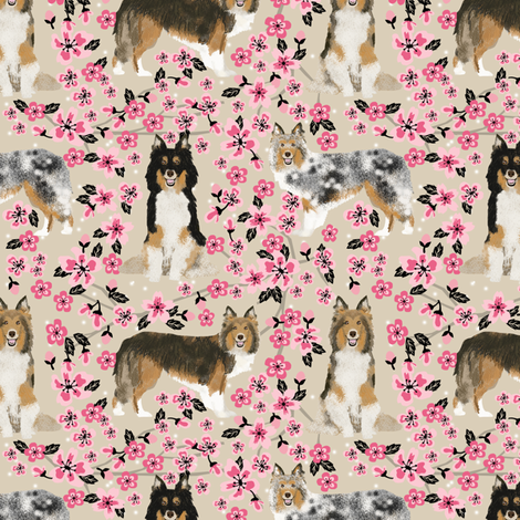 sheltie fabric dogs and cherry blossoms print - sand fabric by petfriendly on Spoonflower - custom fabric