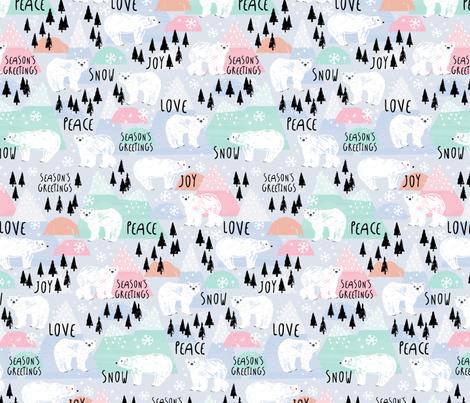 PeaceLoveMagicBears fabric by lizmytinger on Spoonflower - custom fabric