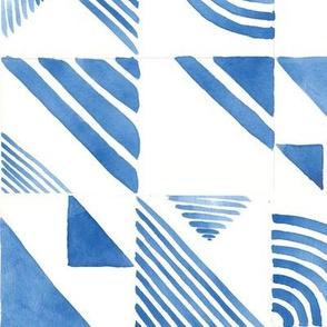 Watercolor Tiles - Blue