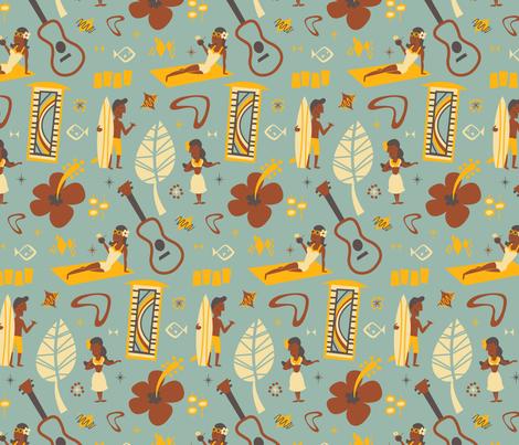 Vintage Hawaiian Village - LIGHT BLUE fabric by dapperdino on Spoonflower - custom fabric