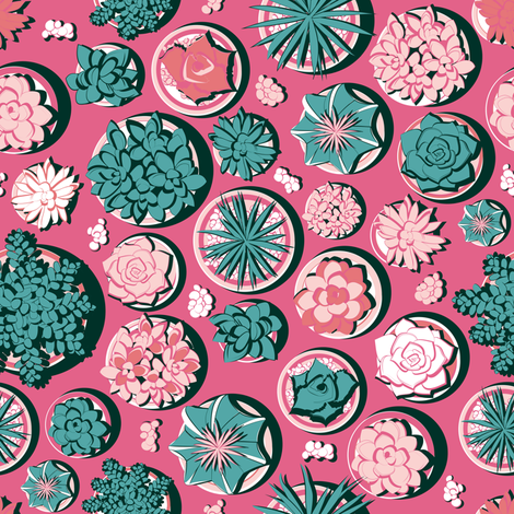 Succulent pots 3 // pink background fabric by selmacardoso on Spoonflower - custom fabric