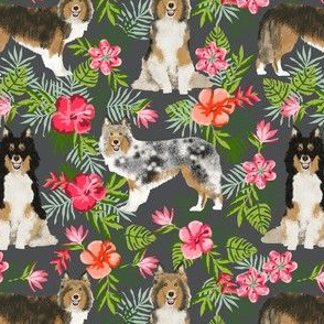 sheltie fabric hawaii hibiscus fabric  shetland sheepdog fabric hawaiian fabric - charcoal