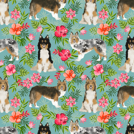 sheltie fabric hawaii hibiscus fabric  shetland sheepdog fabric hawaiian fabric - gulf blue fabric by petfriendly on Spoonflower - custom fabric