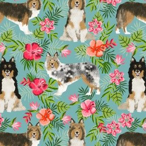 sheltie fabric hawaii hibiscus fabric  shetland sheepdog fabric hawaiian fabric - gulf blue