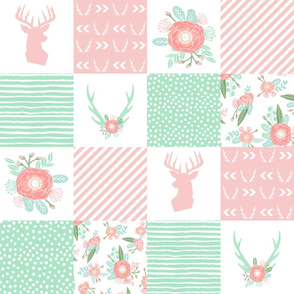 cheater quilt deer antler floral fabric
