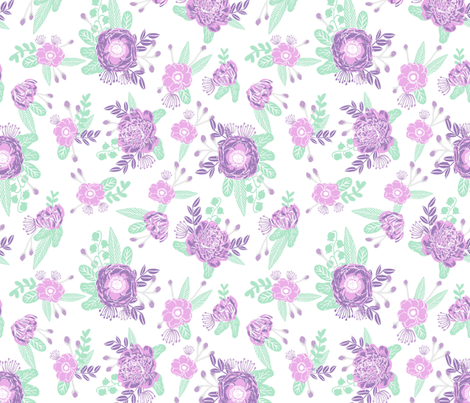 Lavender florals floral nursery baby mint and purple for Purple baby fabric