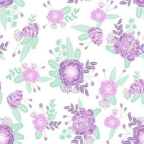 lavender florals floral nursery baby mint and purple fabric