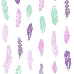 feathers fabric purple and mint fabric