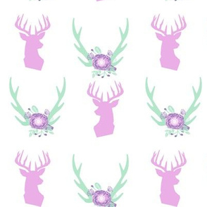 antler nursery fabric purple and mint fabric