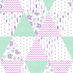 triangle fabric nursery baby mint and purple fabric