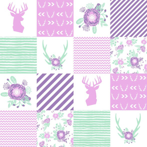cheater fabric mint and purple fabric florals deer antler fabric