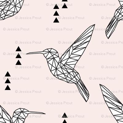 "(micro print) 1"" Geometric hummingbird // pale pink"