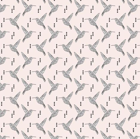 "(micro print) 1"" Geometric hummingbird // pale pink fabric by littlearrowdesign on Spoonflower - custom fabric"