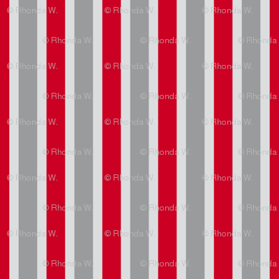 Passion Blooms Vertical Stripes - Narrow Silver Mist Ribbons with Wedding Bells Grey and Carmine