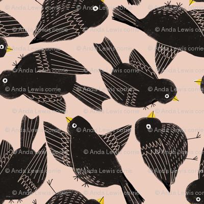Blackbirds on peach