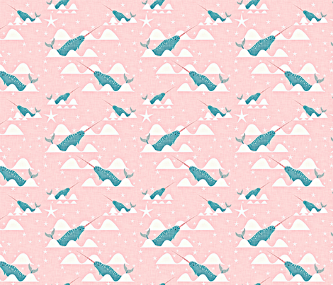Sea unicorn small size fabric by bruxamagica on Spoonflower - custom fabric
