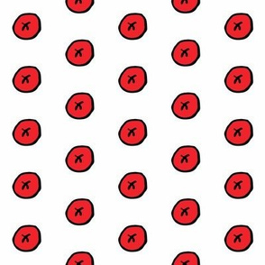 Red Buttons Outline in Black