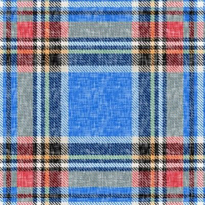 Distressed patriotic blue + red Stewart plaid by Su_G