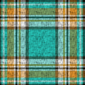 Distressed mustard, orange, turquoise Stewart plaid by Su_G