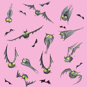 Light Pink Bat Fabric