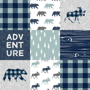 Adventure patchwork - navy and dusty blue (bear and moose fabric)