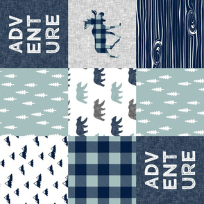 Adventure patchwork - navy and dusty blue (bear and moose fabric) (90)