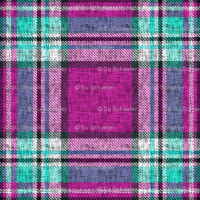 Distressed magenta + turquoise Stewart plaid by Su_G
