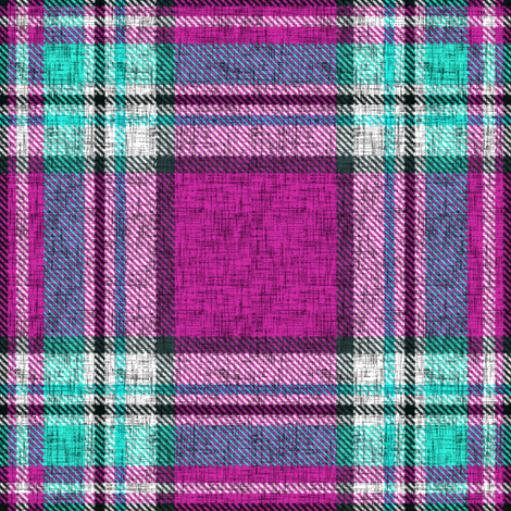Distressed magenta + turquoise Stewart plaid by Su_G fabric by su_g on Spoonflower - custom fabric
