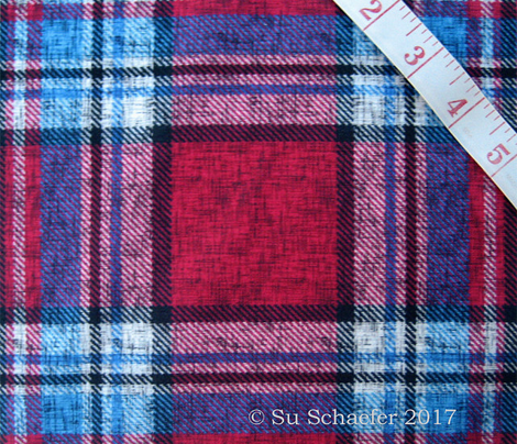 Carmine + blue Stewart plaid linen-weave by Su_G_©SuSchaefer
