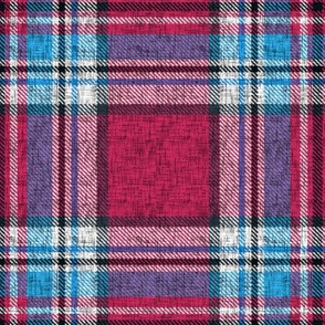 Carmine + blue Stewart plaid linen-weave by Su_G