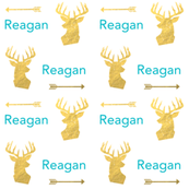 personalized fabric deer head arrows and turquoise and gold