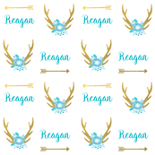 personalized fabric deer and florals fabric