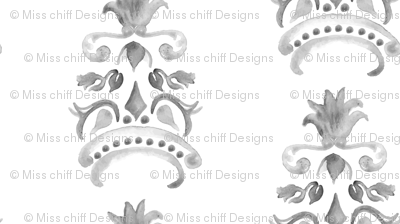 Abstract Pineapple Damask Watercolor Stripe    Neutral Home Decor  Summer Fruit Gray grey Black White _ Miss Chiff Designs