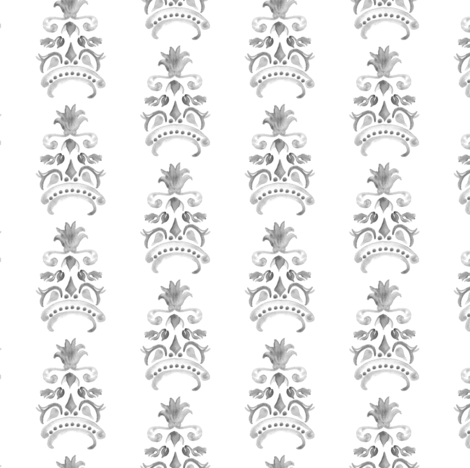 Abstract Pineapple Damask Watercolor Stripe    Neutral Home Decor  Summer Fruit Gray grey Black White _ Miss Chiff Designs  fabric by misschiffdesigns on Spoonflower - custom fabric