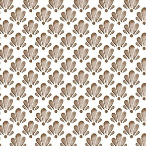 Watercolor Shells Brown Tan  || Ocean Beach Vacation Water Damask Brown White Tan